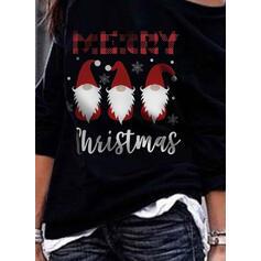 Print rooster Figuur One Shoulder Lange Mouwen Kerst Sweatshirt