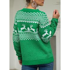 Kvinner Polyester Print Kabel Strikk Reinsdyr Ugly Christmas Sweater