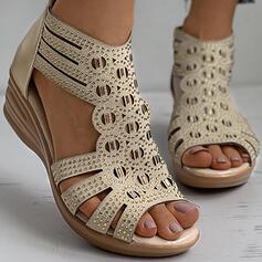 Donna PU Zeppe Sandalo Zeppe Punta aperta Tacchi con Strass Cerniera scarpe