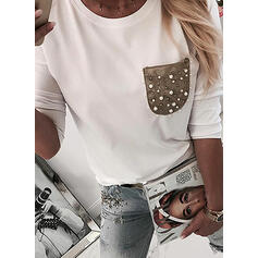 Color Block Beaded Round Neck Long Sleeves Casual T-shirts