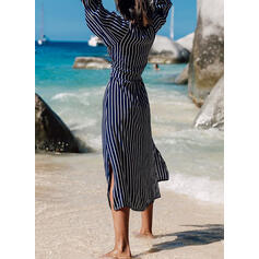 Striped Long Sleeves A-line Casual/Vacation Midi Dresses