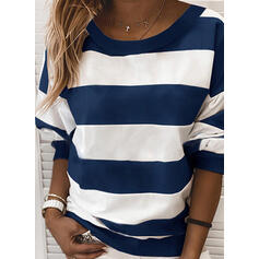 Color Block Striped Round Neck Long Sleeves Sweatshirt