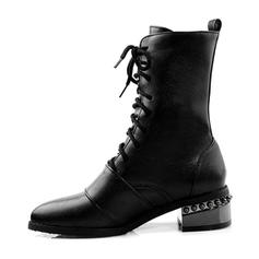 Шкіра Квадратні підбори Бокові черевики з Заклепка Пряжка Зашнурувати взуття
