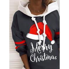 Print Color Block Figure Long Sleeves Christmas Sweatshirt