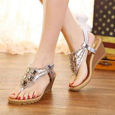 Femmes PU Talon compensé Sandales Compensée avec Strass Élastique chaussures