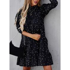 PolkaDot Long Sleeves/Puff Sleeves Shift Knee Length Casual Tunic Dresses