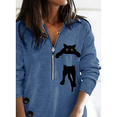 Dyr Lapel Lange ærmer Sweatshirts
