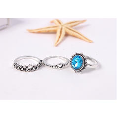 Fashionable Alloy Rhinestones With Rhinestone Women's Rings (Set of 6)