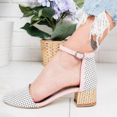 Women's Cloth Chunky Heel Sandals With Buckle shoes
