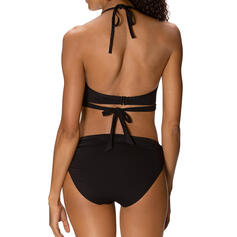 Solid Color High Waist Quick Dry V-Neck Sexy Vintage Bikinis Swimsuits