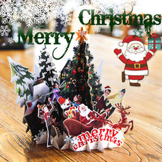 Christmas Tree 3D With Envelope Card Paper Greeting Cards Postcards Invitations