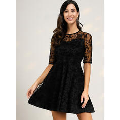 Lace 1/2 Sleeves A-line Knee Length Party Dresses