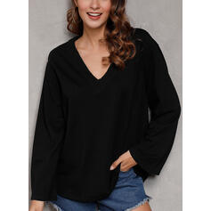 Solid V-Neck Long Sleeves Casual Knit T-shirts
