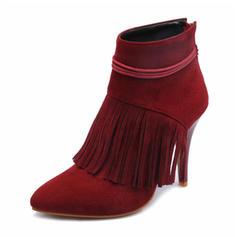 Femmes Suède PU Talon stiletto Bout fermé Bottes Bottines avec Tassel chaussures