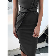 Solid Sleeveless Bodycon Knee Length Casual Dresses