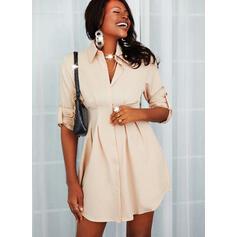 Sólido Mangas 1/2 Cubierta Sobre la Rodilla Casual Camisa Vestidos