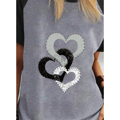 Color Block Hjerte Print Rund hals Korte ærmer T-shirts