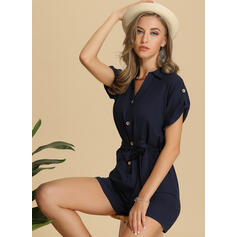 Solid Short Sleeves Above Knee Casual Dresses