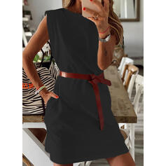Solid Sleeveless Sheath Above Knee Little Black/Casual Dresses