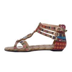 Női Szövet Lapos sarok Szandál -Val Csat cipő