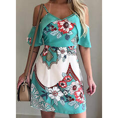 Print/Floral Cold Shoulder Sleeve A-line Above Knee Casual/Vacation Dresses
