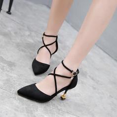 Kvinder Ruskind Stiletto Hæl sandaler Pumps Lukket Tå med Spænde sko