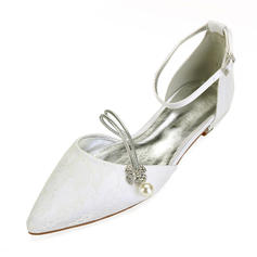 Femmes Similicuir Talon plat Bout fermé Chaussures plates avec Couture dentelle Cristal