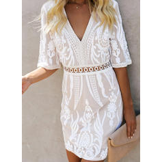 Lace/Solid 1/2 Sleeves A-line Above Knee Casual Dresses