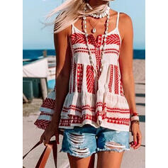 Print Spaghetti Strap Sleeveless Button Up Casual Tank Tops