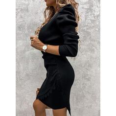 Dentelle/Couleur Unie Manches Longues/Manches Bouffantes Moulante Au-dessus Du Genou Petites Robes Noires/Fête/Élégante Pull Robes
