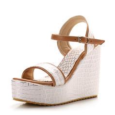 Frauen PVC Keil Absatz Sandalen Absatzschuhe Keile Peep Toe Slingpumps mit Schnalle Schuhe
