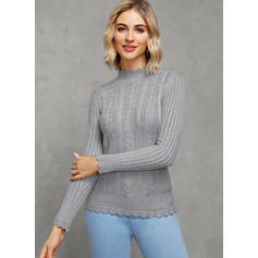 Solid Ribbed Stand Collar Casual Tight Sweaters