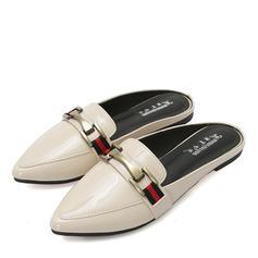Femmes Similicuir Talon plat Chaussures plates Bout fermé Escarpins avec Chaîne chaussures