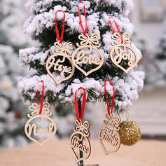 Merry Christmas Hanging Wooden Christmas Pendant Diy Craft (Set of 6)