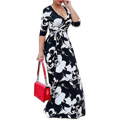 Print/Floral 3/4 Sleeves A-line Wrap Casual/Vacation Maxi Dresses