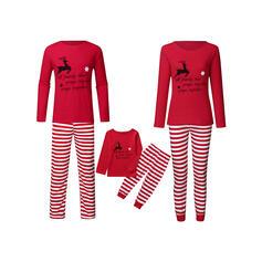 Deer Striped Print Family Matching Christmas Pajamas
