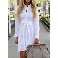 Solid Long Sleeves A-line Above Knee Casual/Elegant Shirt/Skater Dresses