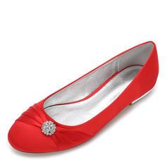 Femmes Soie comme du satin Talon plat Bout fermé Chaussures plates avec Cravate ruban Cristal