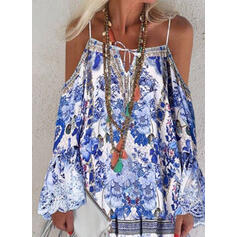 Print/Floral Long Sleeves/Flare Sleeves/Cold Shoulder Sleeve Shift Above Knee Casual/Vacation Tunic Dresses