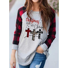 Print Leopard Figure Round Neck Long Sleeves Casual Christmas T-shirts
