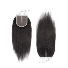 "4""*4"" 4A Non remy Kinky Straight Human Hair Closure (Sold in a single piece)"