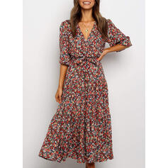 Floral 1/2 Sleeves A-line Skater Casual/Vacation Midi Dresses