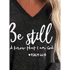Print V-Neck Long Sleeves Casual Knit T-shirts