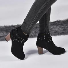 Donna PU Tacco spesso Stivali con Fibbia scarpe