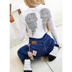 Imprimé Col Rond Manches Longues T-shirts