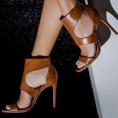 Frauen PU Stöckel Absatz Sandalen Absatzschuhe mit Reißverschluss Schuhe