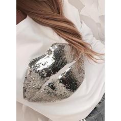 Блестки Шею Длинные рукова Повседневная Блузы