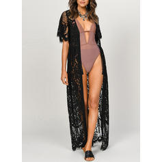 Solid Color Mesh V-Neck Beautiful Cover-ups Swimsuits