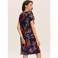 Print Short Sleeves Shift Knee Length Casual T-shirt Dresses