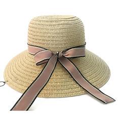 Ladies' Beautiful Rattan Straw With Bowknot Straw Hats